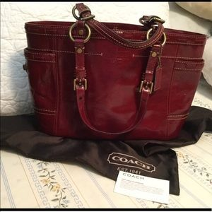 COACH Patent Leather Oxblood Large Purse